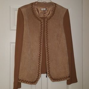 Peter Nygard sweater jacket with suede front